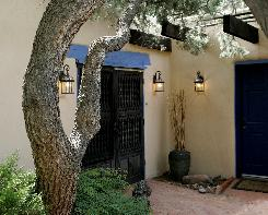 Entrance to Sandhill Crane Bed and Breakfast is shaded by a Pinon tree and Wisteria