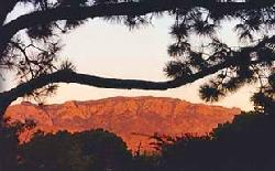 Sunset on the Sandia Mountains as viewed from our portal